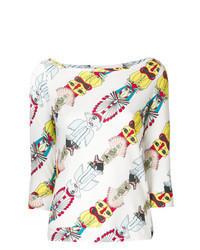 Белая блузка с длинным рукавом с принтом