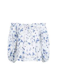 Белая блузка с длинным рукавом с принтом от Isolda