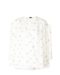 Белая блузка с длинным рукавом с принтом от Magda Butrym