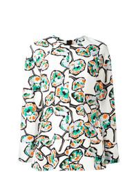 Белая блузка с длинным рукавом с принтом от Marni