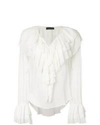 Белая блузка с длинным рукавом с рюшами