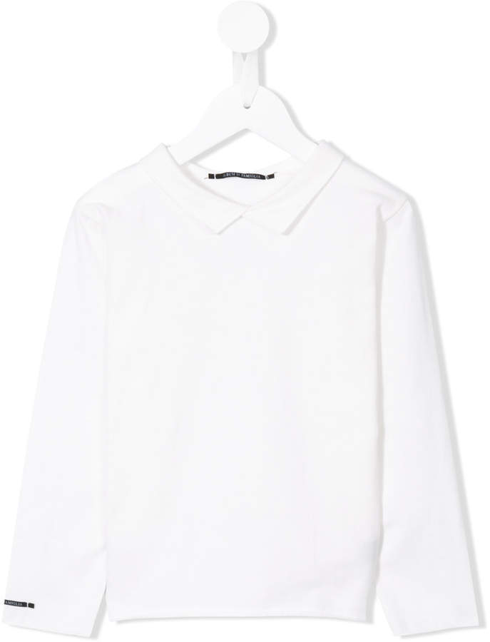 Детская белая блузка с длинным рукавом для девочке