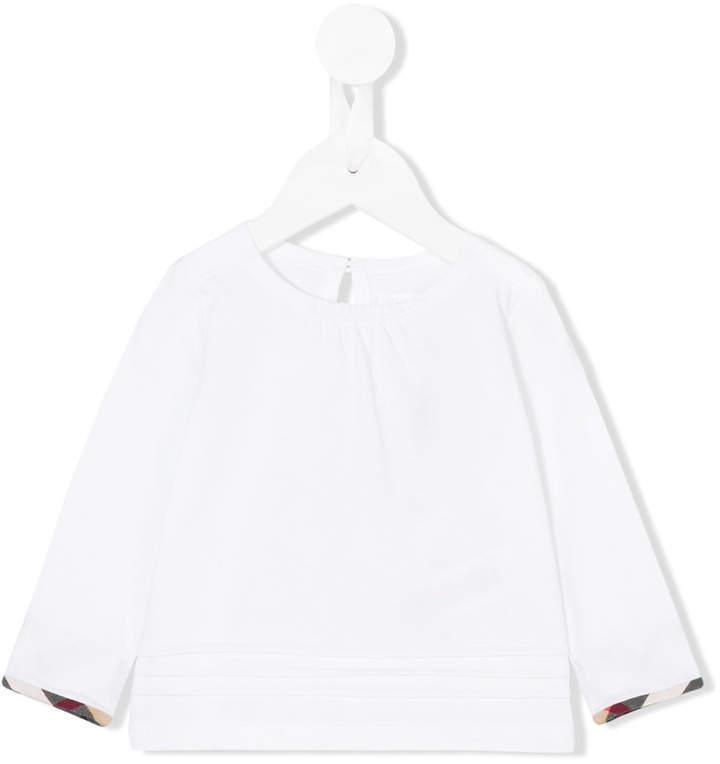 Детская белая блузка с длинным рукавом для девочке от Burberry