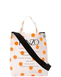 Мужская белая большая сумка из плотной ткани с принтом от Kenzo