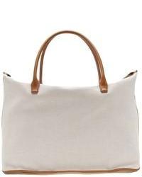 Белая большая сумка из плотной ткани