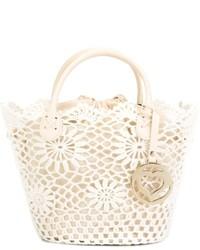 Белая большая сумка крючком