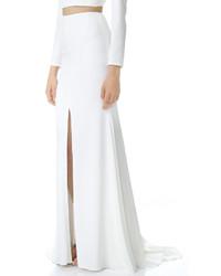 Белая длинная юбка с разрезом