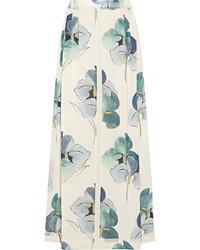 Белая длинная юбка с цветочным принтом