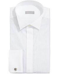 Белая классическая рубашка в вертикальную полоску