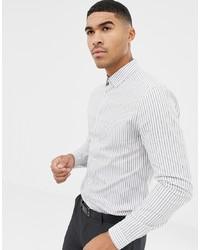 Мужская белая классическая рубашка в вертикальную полоску от ASOS DESIGN