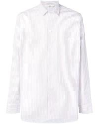 Мужская белая классическая рубашка в вертикальную полоску от Golden Goose