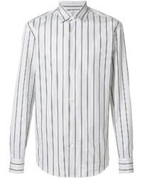 Мужская белая классическая рубашка в вертикальную полоску от Salvatore Ferragamo