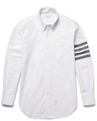 Белая классическая рубашка в горизонтальную полоску