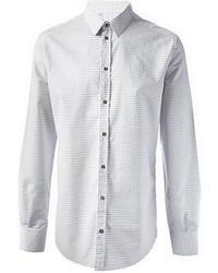 Белая классическая рубашка в горошек