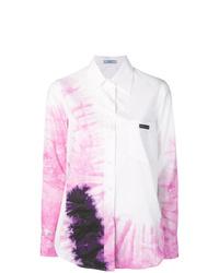 Белая классическая рубашка с принтом тай-дай
