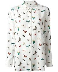 Белая классическая рубашка с принтом