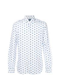 Мужская белая классическая рубашка с принтом от Barba