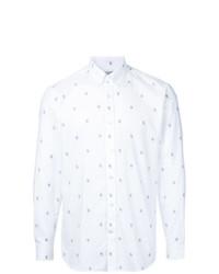 Мужская белая классическая рубашка с принтом от Gieves & Hawkes