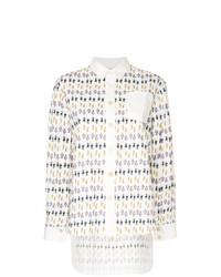 Женская белая классическая рубашка с принтом от Marni