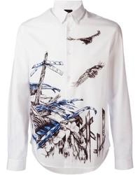 Мужская белая классическая рубашка с принтом от McQ by Alexander McQueen