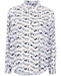Женская белая классическая рубашка с принтом от Moschino