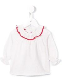 Детская белая классическая рубашка с рюшами для девочке