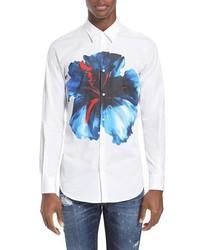 Белая классическая рубашка с цветочным принтом