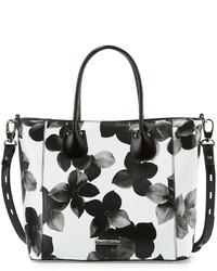 Белая кожаная большая сумка с цветочным принтом