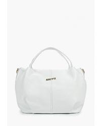 Белая кожаная большая сумка от Alessandro Birutti