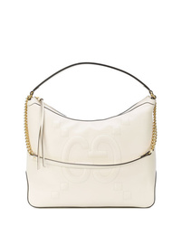 Белая кожаная большая сумка от Gucci