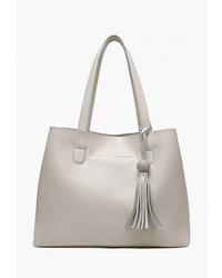 Белая кожаная большая сумка от Mironpan