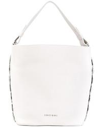 Белая кожаная большая сумка от Orciani