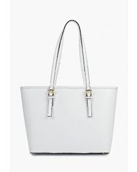 Белая кожаная большая сумка от Roberto Buono