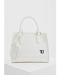 Белая кожаная большая сумка от Trussardi Jeans