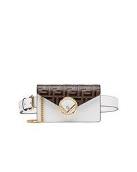 Белая кожаная поясная сумка от Fendi