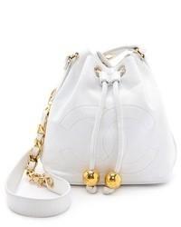 Белая кожаная сумка-мешок