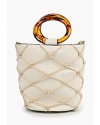 Белая кожаная сумка-мешок от Dorothy Perkins