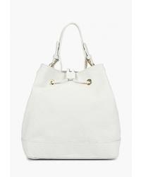 Белая кожаная сумка-мешок от LAMANIA