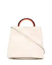 Белая кожаная сумка-мешок от Marni