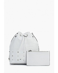 Белая кожаная сумка-мешок от Vitacci