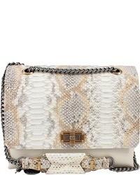 Белая кожаная сумка-саквояж со змеиным рисунком