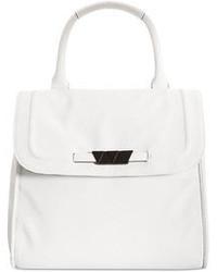 Белая кожаная сумка-саквояж