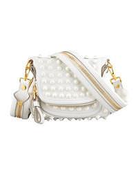 Белая кожаная сумка через плечо с украшением