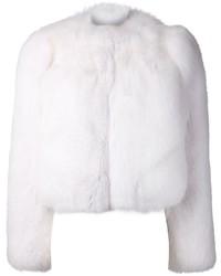 Женская белая короткая шуба от Saint Laurent