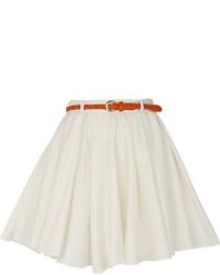 Белая короткая юбка-солнце