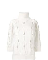 Женская белая кофта с коротким рукавом от Blumarine