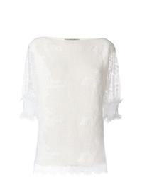 Женская белая кофта с коротким рукавом от Ermanno Scervino