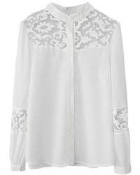 Белая кружевная блуза на пуговицах