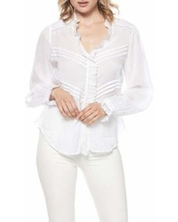 Белая кружевная блузка с длинным рукавом с рюшами