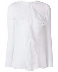 Белая кружевная блузка с длинным рукавом с рюшами от Givenchy